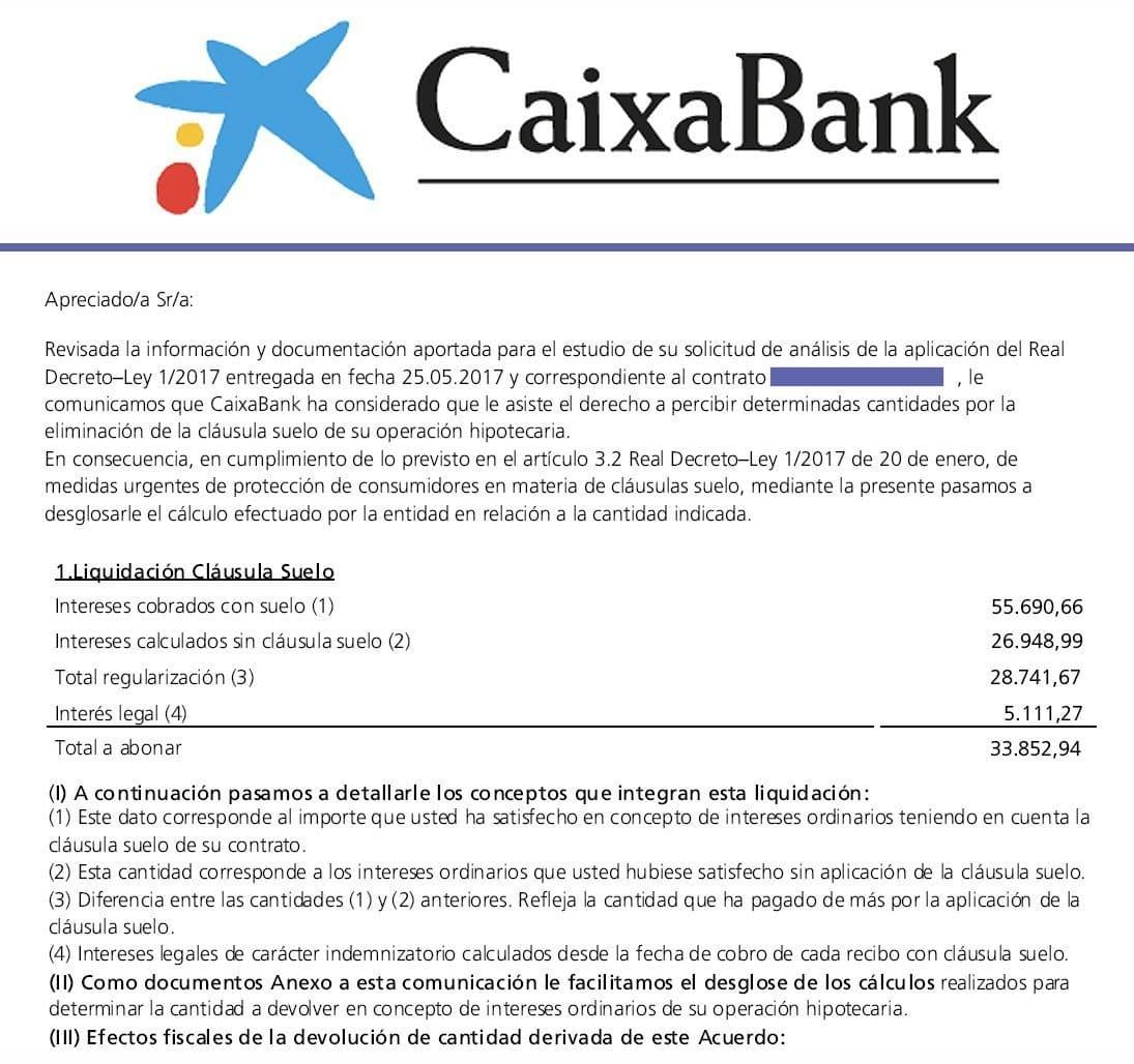Caixabank devuelve euros por una cl usula suelo for Reclamacion cantidad clausula suelo